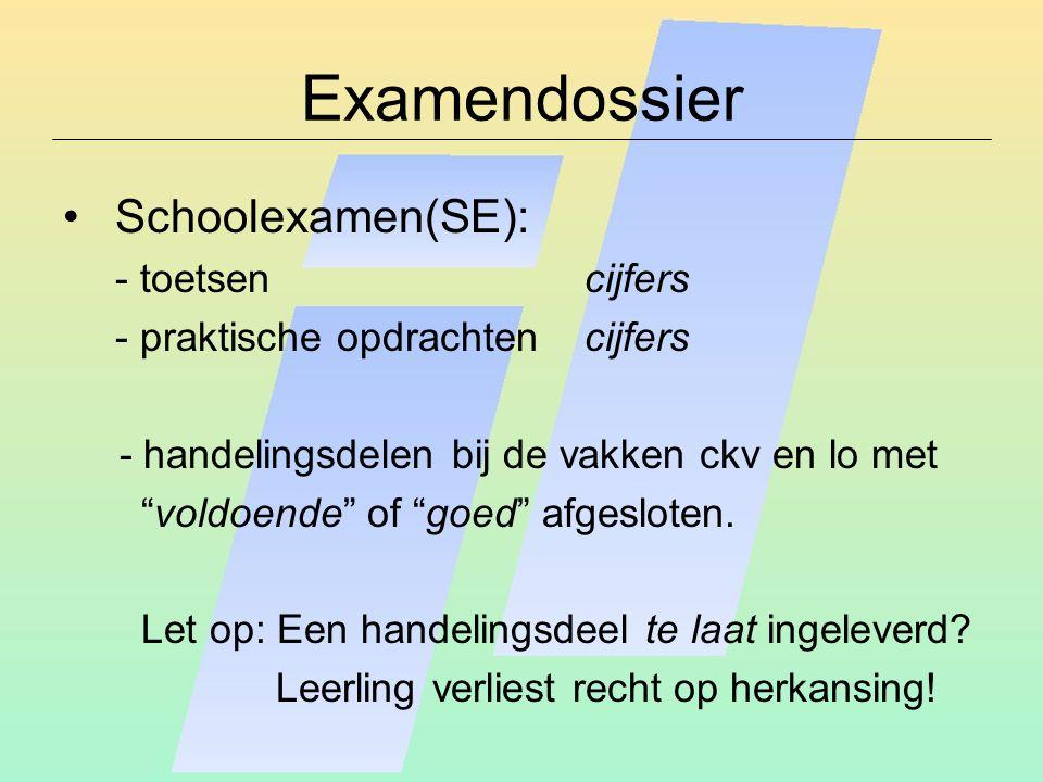 Examendossier Schoolexamen(SE): - toetsencijfers - praktische opdrachtencijfers - handelingsdelen bij de vakken ckv en lo met voldoende of goed afgesloten.