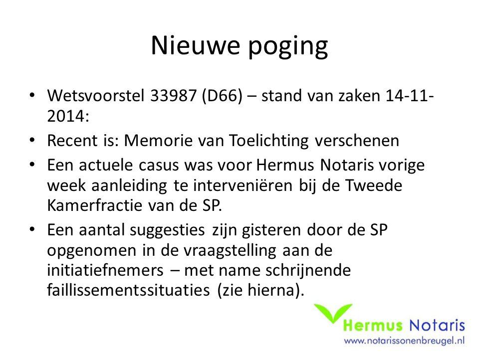 Nieuwe poging Wetsvoorstel 33987 (D66) – stand van zaken 14-11- 2014: Recent is: Memorie van Toelichting verschenen Een actuele casus was voor Hermus