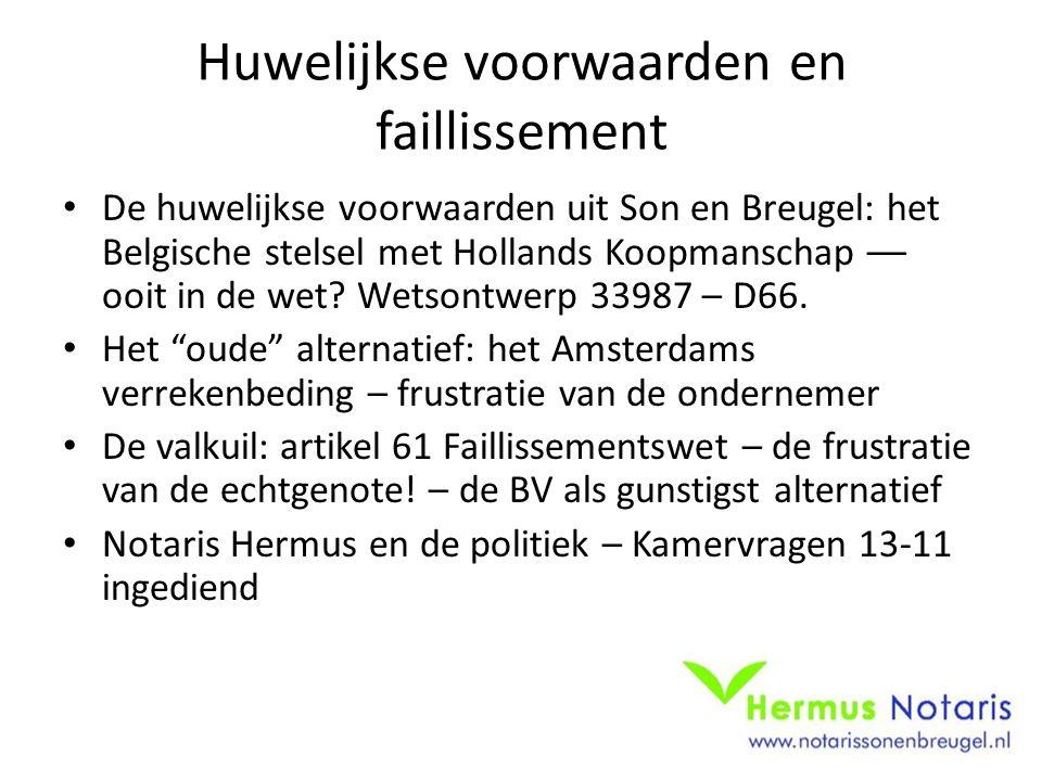Nieuwe poging Wetsvoorstel 33987 (D66) – stand van zaken 14-11- 2014: Recent is: Memorie van Toelichting verschenen Een actuele casus was voor Hermus Notaris vorige week aanleiding te interveniëren bij de Tweede Kamerfractie van de SP.