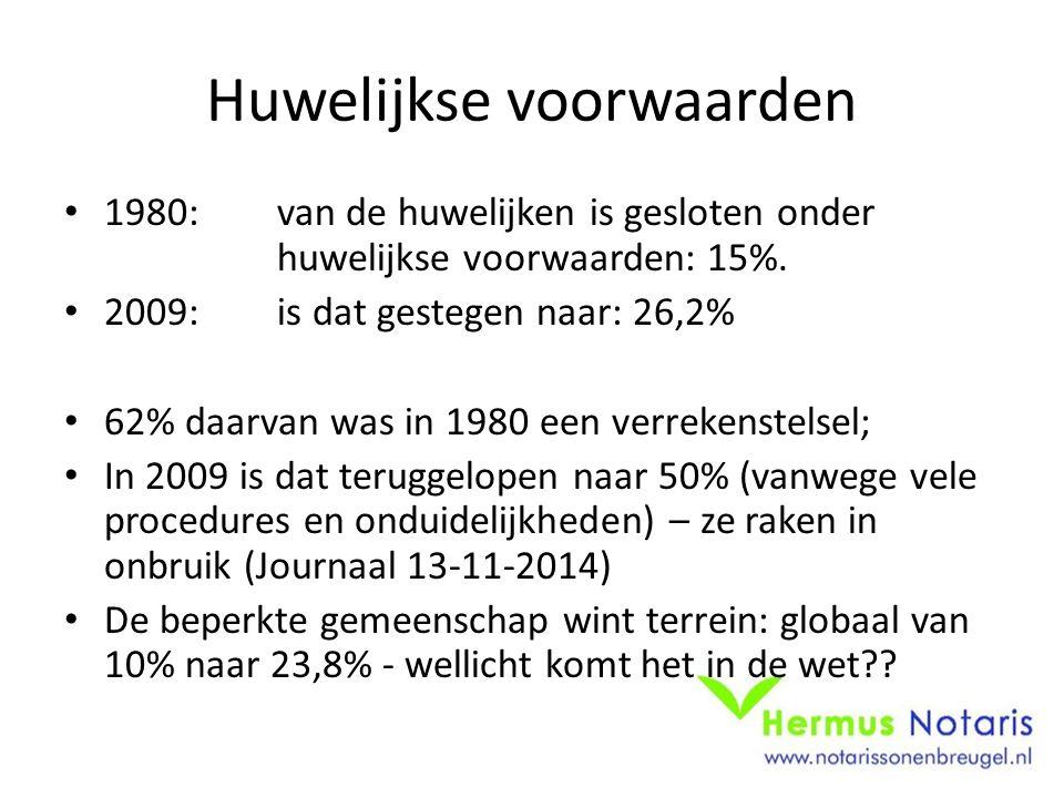 Huwelijkse voorwaarden 1980: van de huwelijken is gesloten onder huwelijkse voorwaarden: 15%. 2009: is dat gestegen naar: 26,2% 62% daarvan was in 198