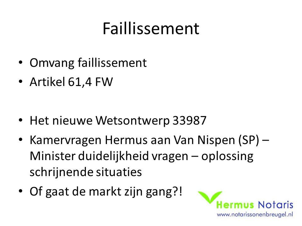 Faillissement Omvang faillissement Artikel 61,4 FW Het nieuwe Wetsontwerp 33987 Kamervragen Hermus aan Van Nispen (SP) – Minister duidelijkheid vragen