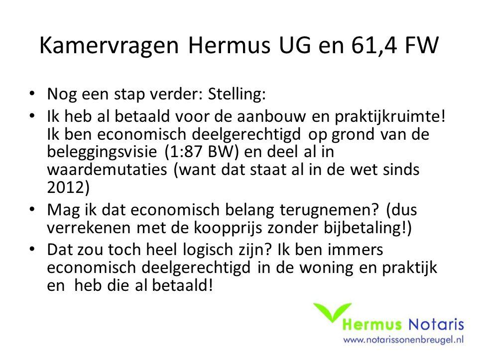 Kamervragen Hermus UG en 61,4 FW Nog een stap verder: Stelling: Ik heb al betaald voor de aanbouw en praktijkruimte! Ik ben economisch deelgerechtigd