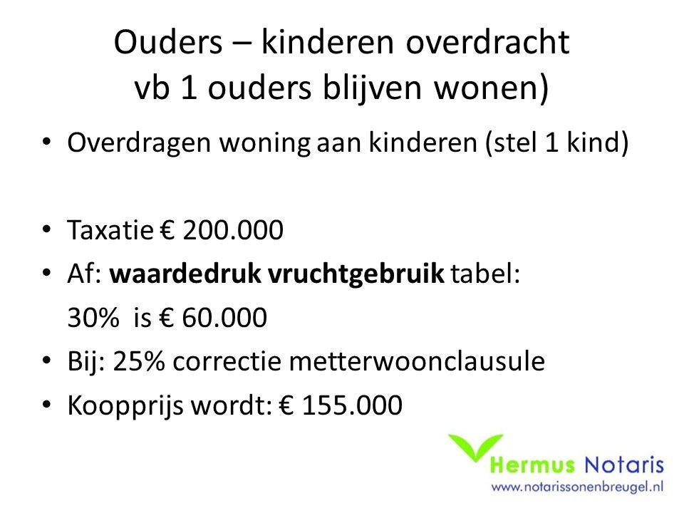 Ouders – kinderen overdracht vb 1 ouders blijven wonen) Overdragen woning aan kinderen (stel 1 kind) Taxatie € 200.000 Af: waardedruk vruchtgebruik ta