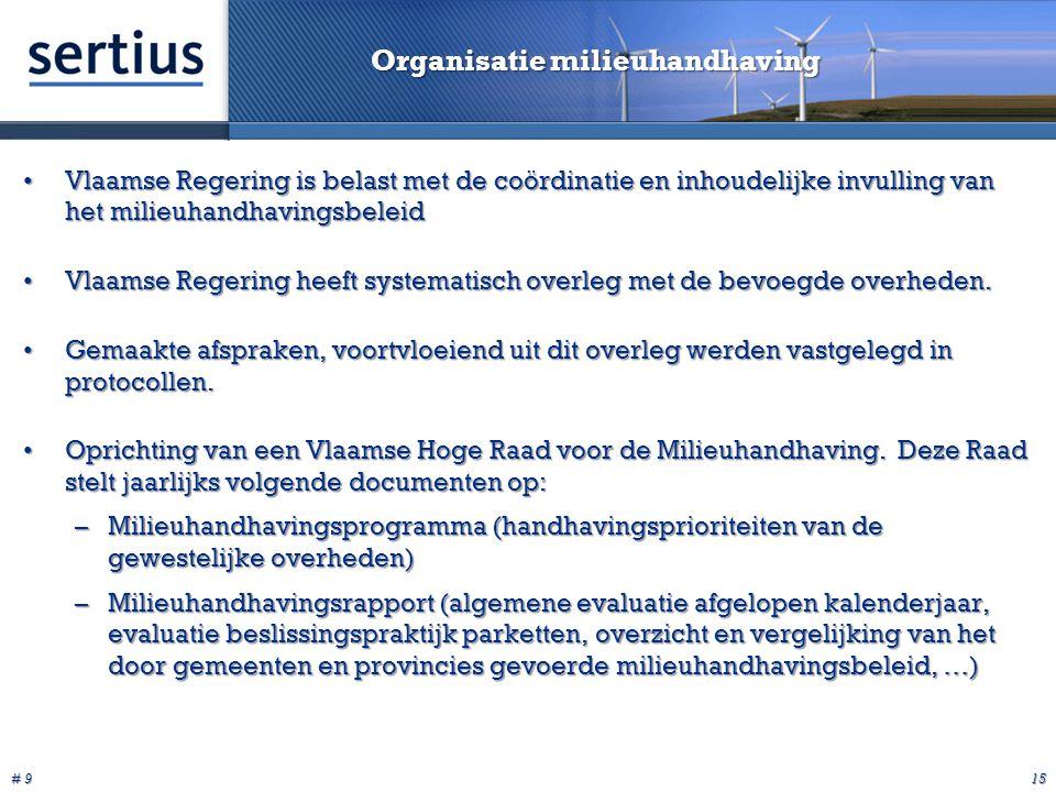 # 9 15 Organisatie milieuhandhaving Vlaamse Regering is belast met de coördinatie en inhoudelijke invulling van het milieuhandhavingsbeleidVlaamse Regering is belast met de coördinatie en inhoudelijke invulling van het milieuhandhavingsbeleid Vlaamse Regering heeft systematisch overleg met de bevoegde overheden.Vlaamse Regering heeft systematisch overleg met de bevoegde overheden.