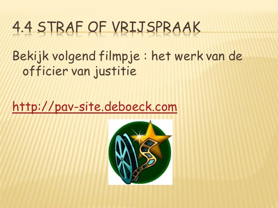 Bekijk volgend filmpje : het werk van de officier van justitie http://pav-site.deboeck.com