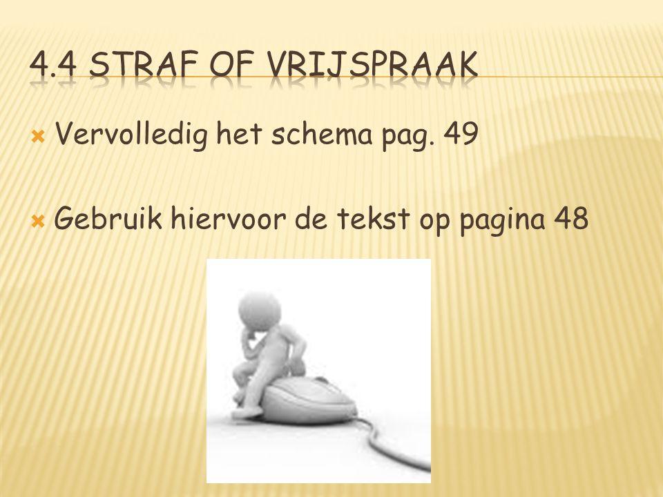  Vervolledig het schema pag. 49  Gebruik hiervoor de tekst op pagina 48