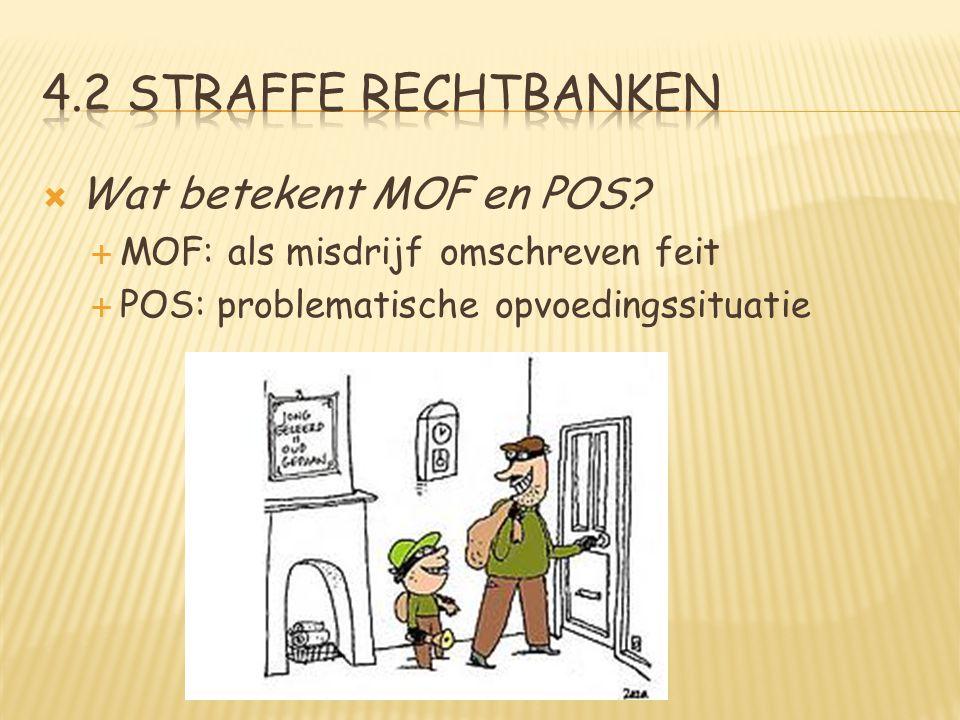  Wat betekent MOF en POS?  MOF: als misdrijf omschreven feit  POS: problematische opvoedingssituatie