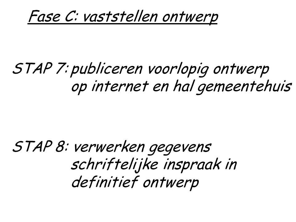 STAP 7:publiceren voorlopig ontwerp op internet en hal gemeentehuis STAP 8: verwerken gegevens schriftelijke inspraak in definitief ontwerp Fase C: vaststellen ontwerp