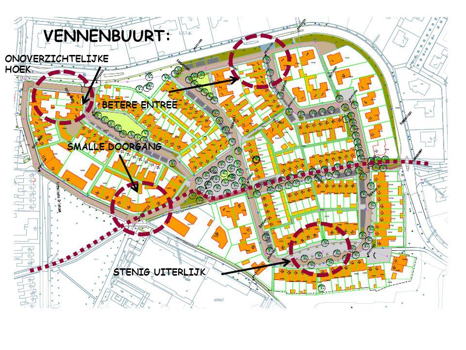 VENNENBUURT: SMALLE DOORGANG ONOVERZICHTELIJKE HOEK STENIG UITERLIJK BETERE ENTREE