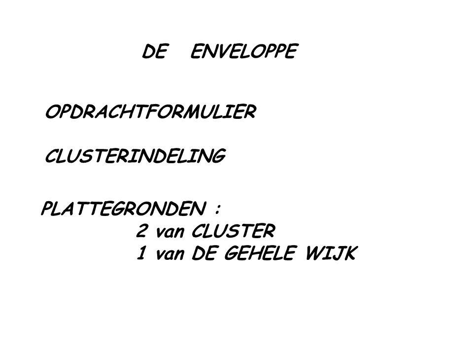 DE ENVELOPPE OPDRACHTFORMULIER CLUSTERINDELING PLATTEGRONDEN : 2 van CLUSTER 1 van DE GEHELE WIJK