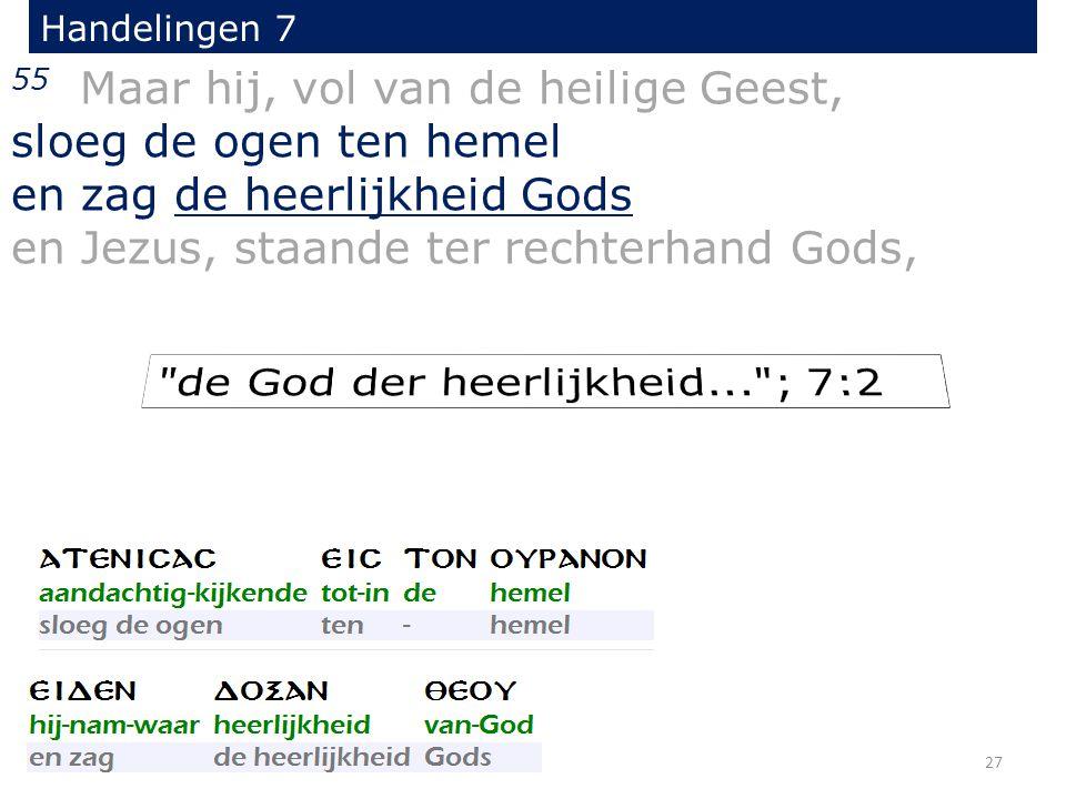 Handelingen 7 55 Maar hij, vol van de heilige Geest, sloeg de ogen ten hemel en zag de heerlijkheid Gods en Jezus, staande ter rechterhand Gods, 27