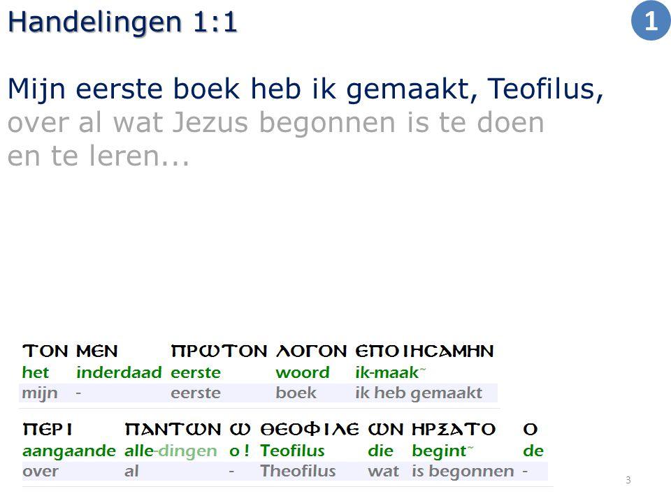 Handelingen 1:1 Mijn eerste boek heb ik gemaakt, Teofilus, over al wat Jezus begonnen is te doen en te leren...