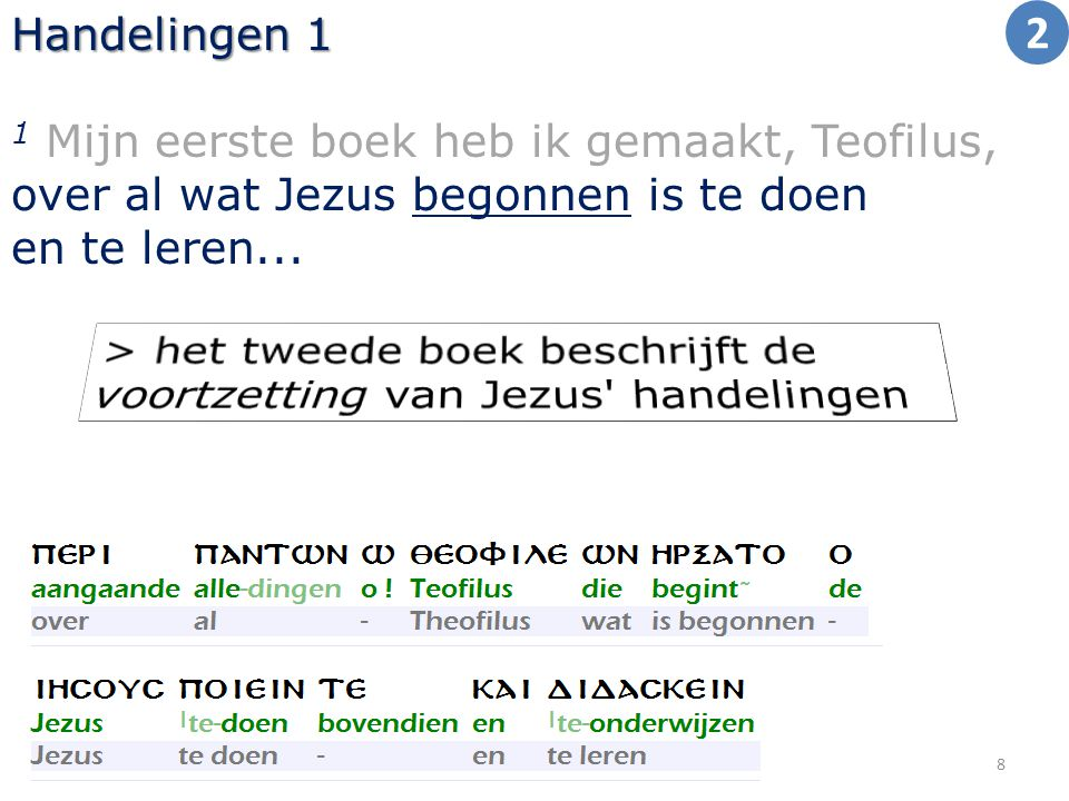 Handelingen 1 1 Mijn eerste boek heb ik gemaakt, Teofilus, over al wat Jezus begonnen is te doen en te leren... 8 2