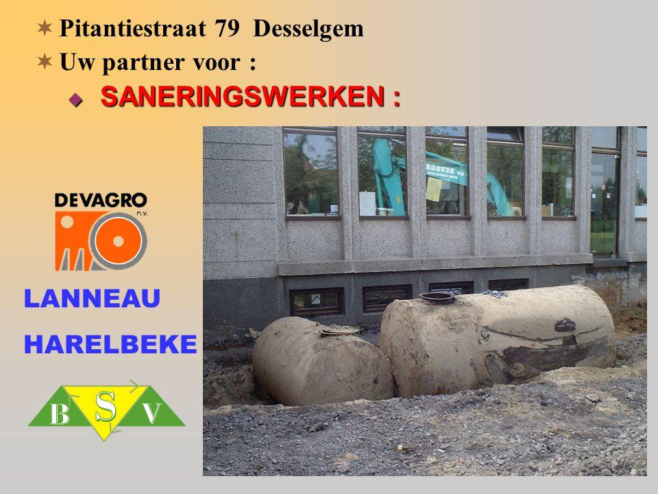  Pitantiestraat 79 Desselgem  Uw partner voor :  SANERINGSWERKEN : LANNEAU HARELBEKE
