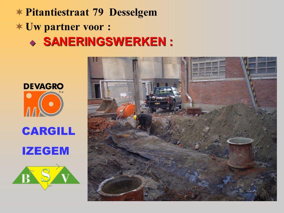 CARGILL IZEGEM  Pitantiestraat 79 Desselgem  Uw partner voor :  SANERINGSWERKEN :