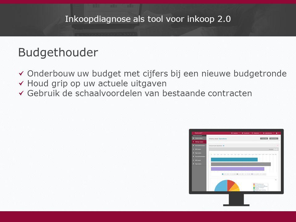 Inkoopdiagnose als tool voor inkoop 2.0 Budgethouder Onderbouw uw budget met cijfers bij een nieuwe budgetronde Houd grip op uw actuele uitgaven Gebruik de schaalvoordelen van bestaande contracten