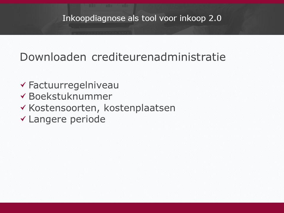 Inkoopdiagnose als tool voor inkoop 2.0 Downloaden crediteurenadministratie Factuurregelniveau Boekstuknummer Kostensoorten, kostenplaatsen Langere periode