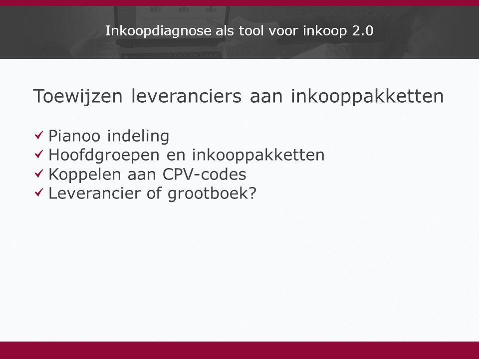 Inkoopdiagnose als tool voor inkoop 2.0 Toewijzen leveranciers aan inkooppakketten Pianoo indeling Hoofdgroepen en inkooppakketten Koppelen aan CPV-codes Leverancier of grootboek?