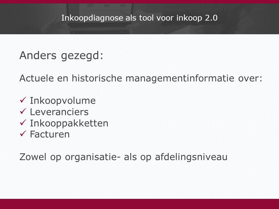 Inkoopdiagnose als tool voor inkoop 2.0 Anders gezegd: Actuele en historische managementinformatie over: Inkoopvolume Leveranciers Inkooppakketten Facturen Zowel op organisatie- als op afdelingsniveau