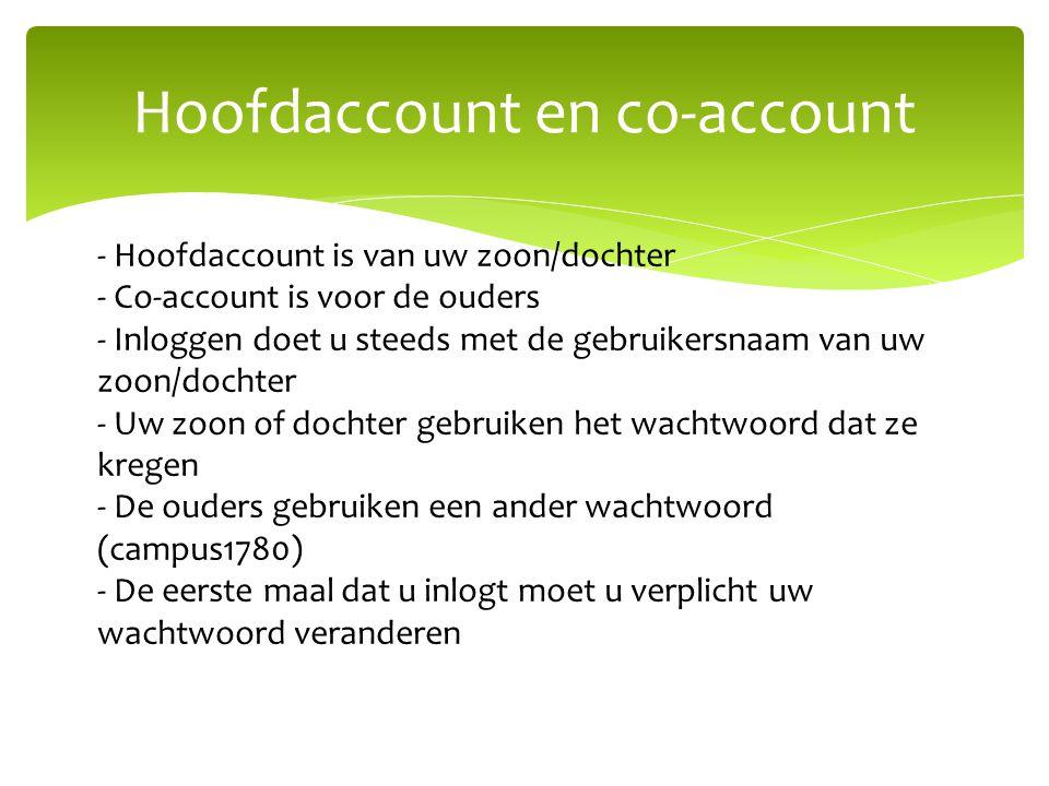 Hoofdaccount en co-account - Hoofdaccount is van uw zoon/dochter - Co-account is voor de ouders - Inloggen doet u steeds met de gebruikersnaam van uw