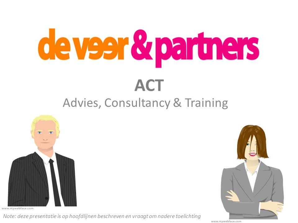 ACT Advies, Consultancy & Training Note: deze presentatie is op hoofdlijnen beschreven en vraagt om nadere toelichting