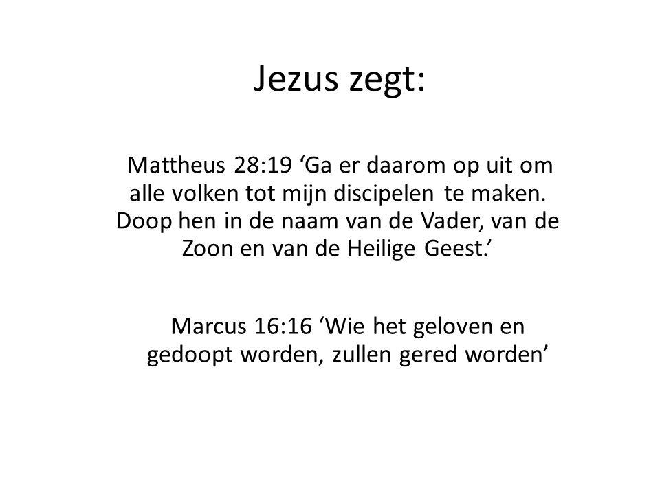 Jezus zegt: Mattheus 28:19 'Ga er daarom op uit om alle volken tot mijn discipelen te maken. Doop hen in de naam van de Vader, van de Zoon en van de H