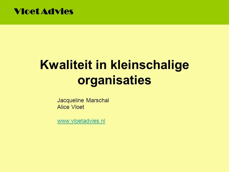 Kwaliteit in kleinschalige organisaties Jacqueline Marschal Alice Vloet www.vloetadvies.nl Vloet Advies