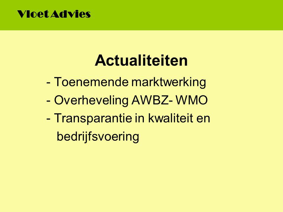 Actualiteiten - Toenemende marktwerking - Overheveling AWBZ- WMO - Transparantie in kwaliteit en bedrijfsvoering Vloet Advies