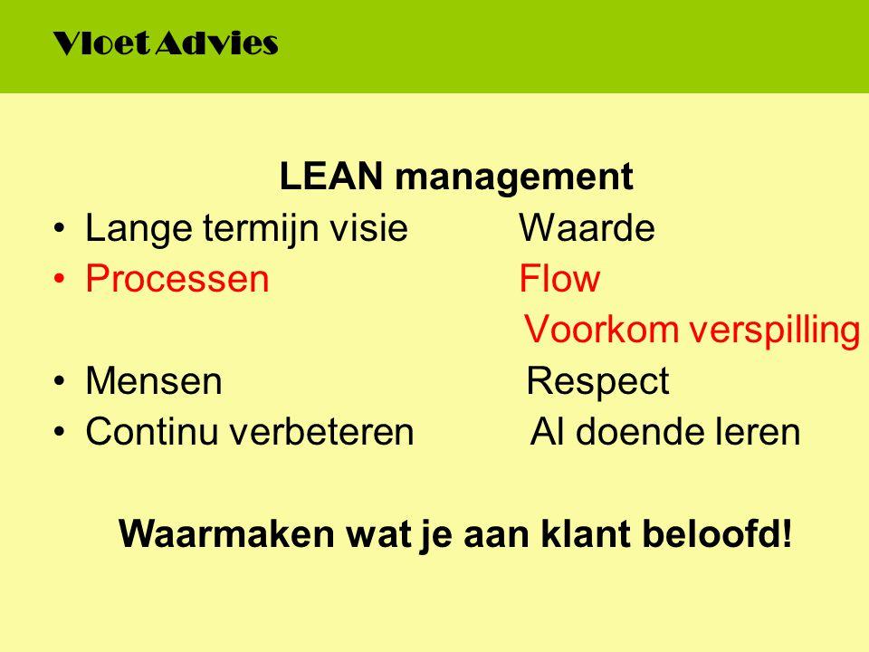 LEAN management Lange termijn visie Waarde Processen Flow Voorkom verspilling Mensen Respect Continu verbeteren Al doende leren Waarmaken wat je aan k