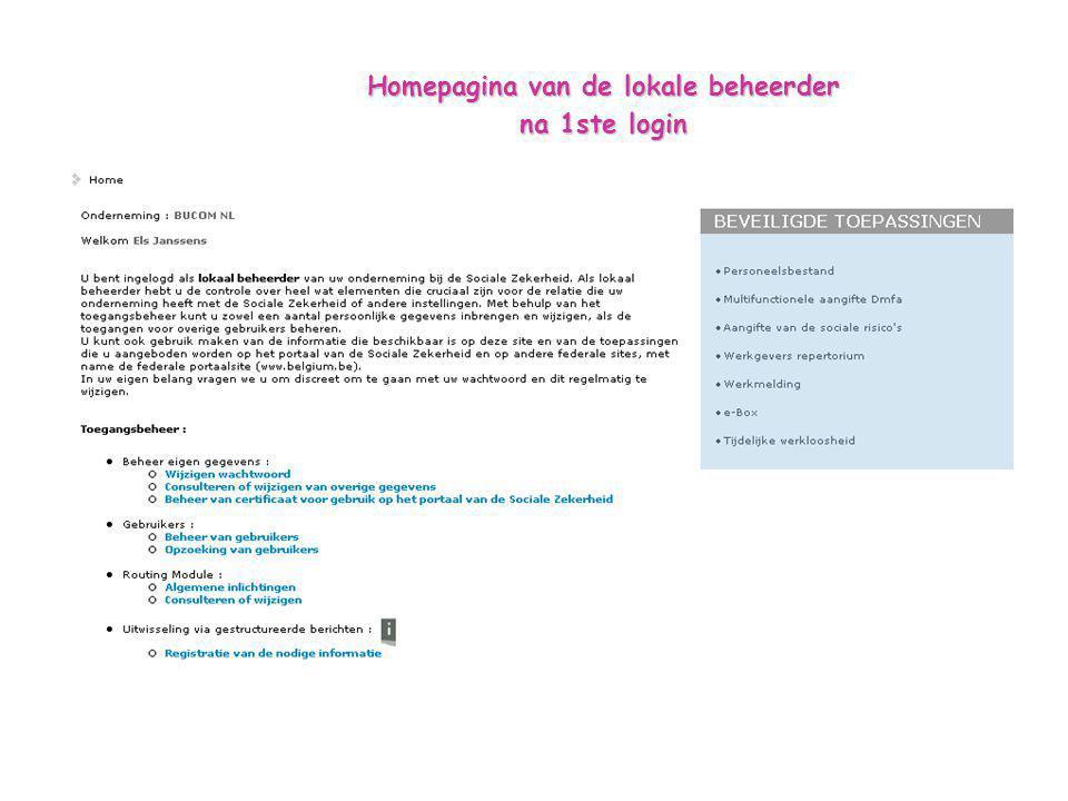 Homepagina van de lokale beheerder na 1ste login
