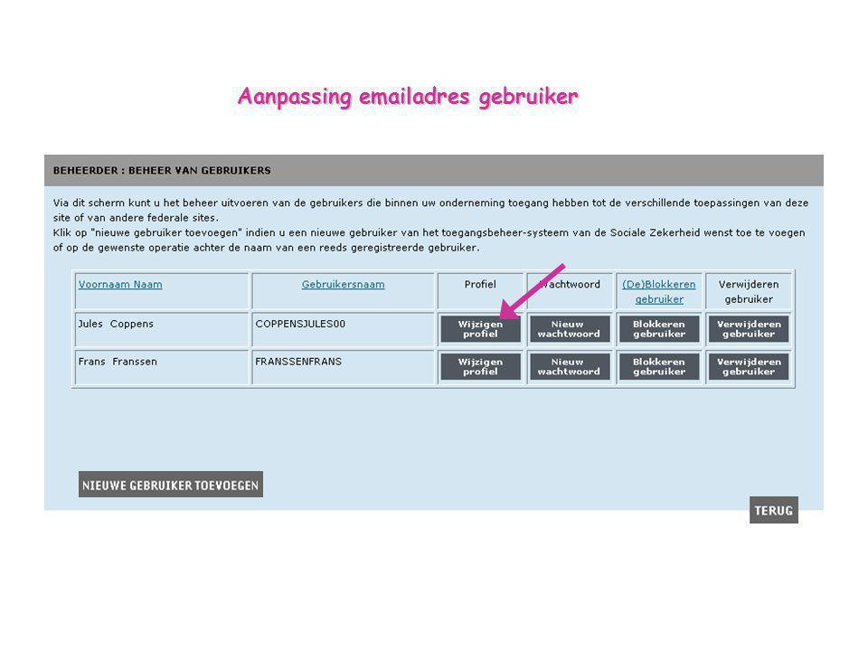 Aanpassing emailadres gebruiker