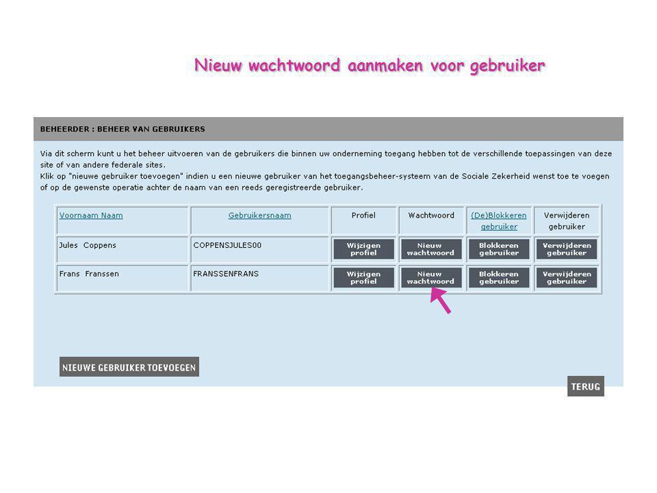 Nieuw wachtwoord aanmaken voor gebruiker