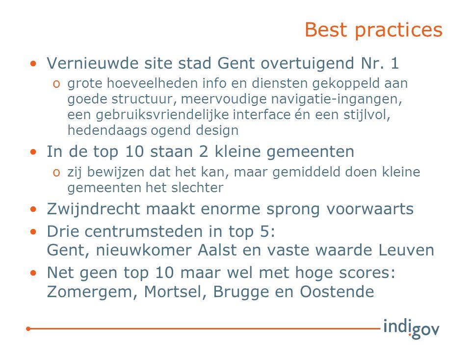 Best practices Vernieuwde site stad Gent overtuigend Nr. 1 ogrote hoeveelheden info en diensten gekoppeld aan goede structuur, meervoudige navigatie-i