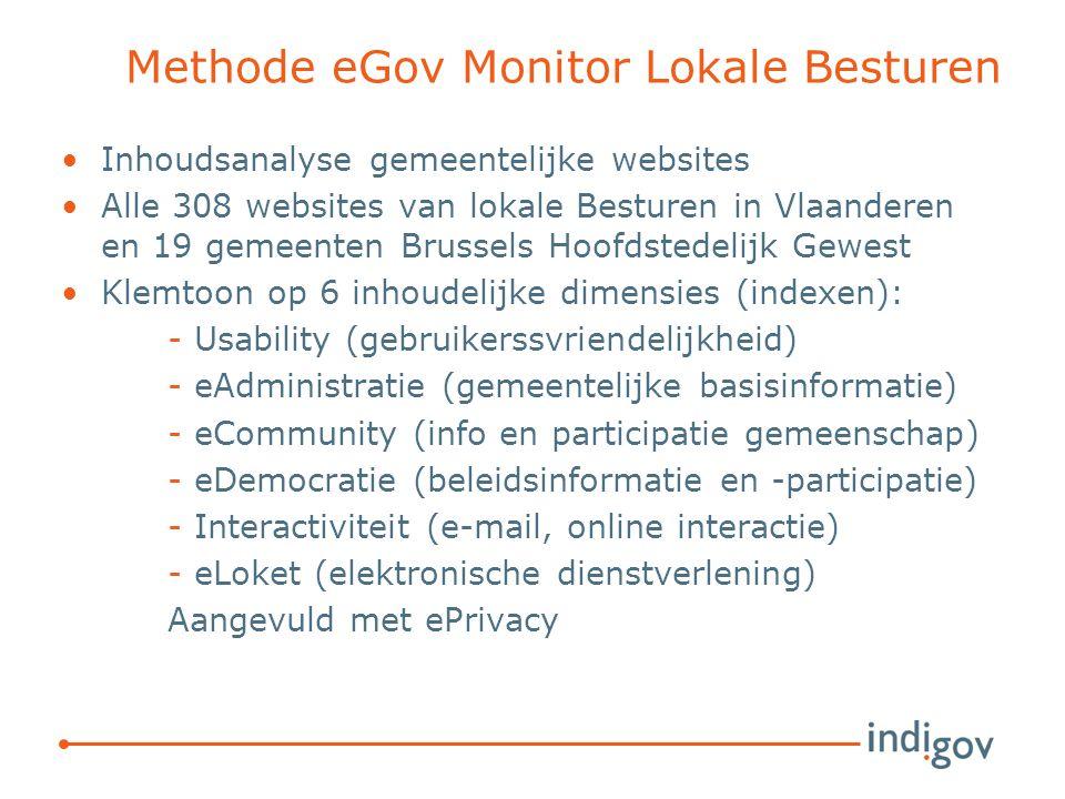 Methode eGov Monitor Lokale Besturen Inhoudsanalyse gemeentelijke websites Alle 308 websites van lokale Besturen in Vlaanderen en 19 gemeenten Brussels Hoofdstedelijk Gewest Klemtoon op 6 inhoudelijke dimensies (indexen): -Usability (gebruikerssvriendelijkheid) -eAdministratie (gemeentelijke basisinformatie) -eCommunity (info en participatie gemeenschap) -eDemocratie (beleidsinformatie en -participatie) -Interactiviteit (e-mail, online interactie) -eLoket (elektronische dienstverlening) Aangevuld met ePrivacy