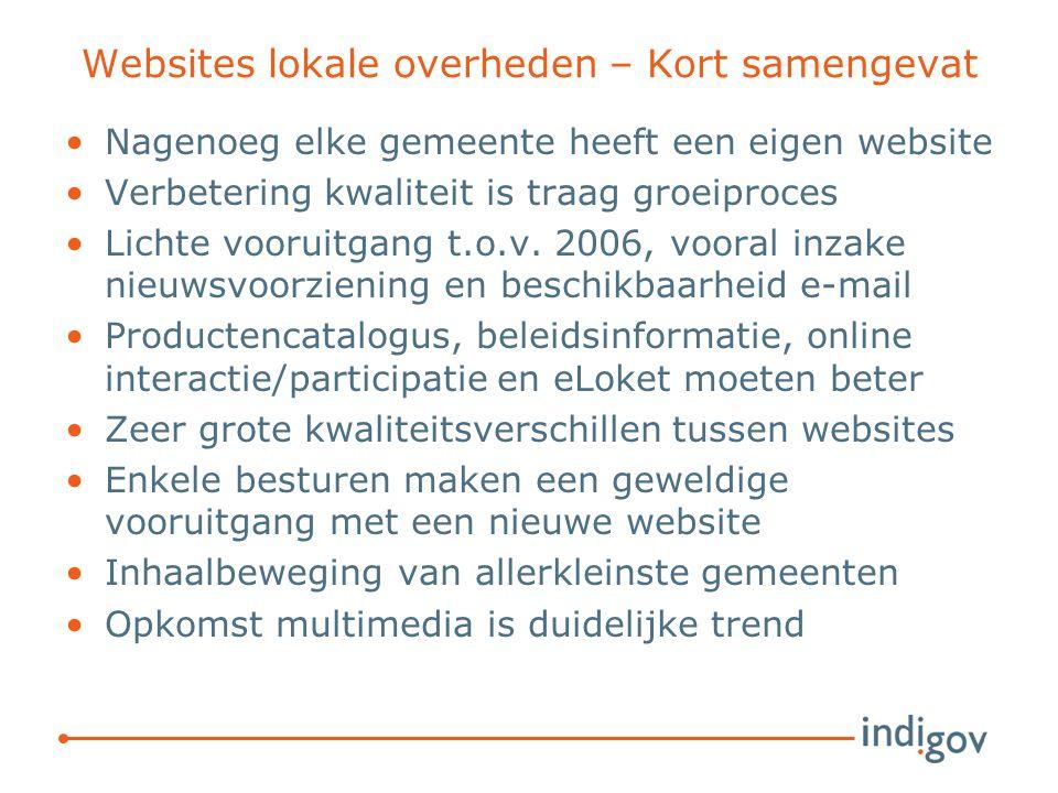 Websites lokale overheden – Kort samengevat Nagenoeg elke gemeente heeft een eigen website Verbetering kwaliteit is traag groeiproces Lichte vooruitga