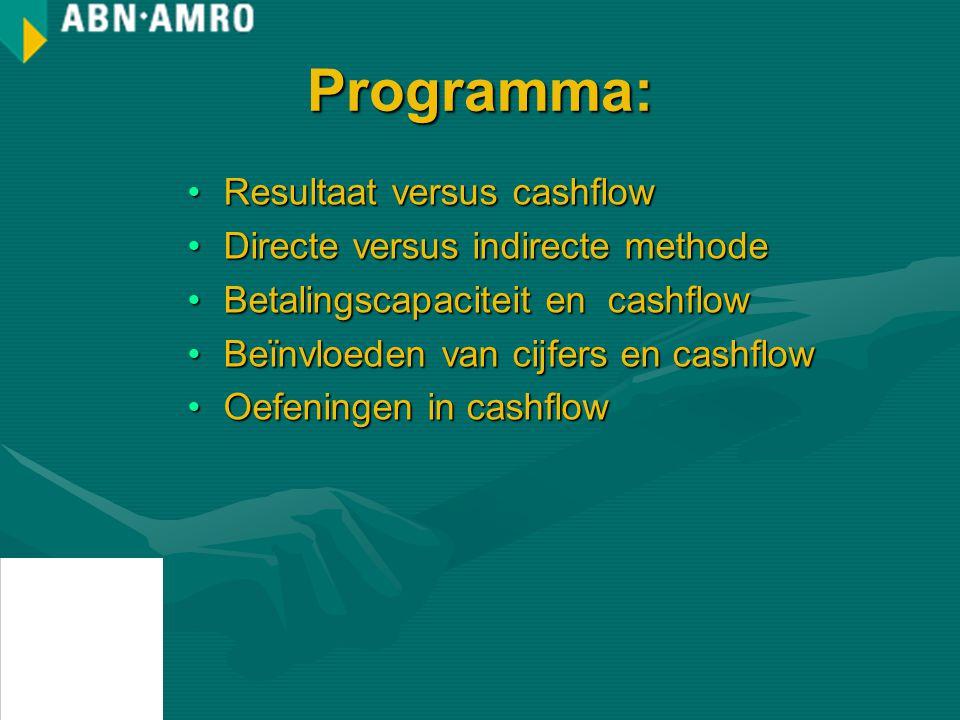 Programma: Resultaat versus cashflowResultaat versus cashflow Directe versus indirecte methodeDirecte versus indirecte methode Betalingscapaciteit en cashflowBetalingscapaciteit en cashflow Beïnvloeden van cijfers en cashflowBeïnvloeden van cijfers en cashflow Oefeningen in cashflowOefeningen in cashflow