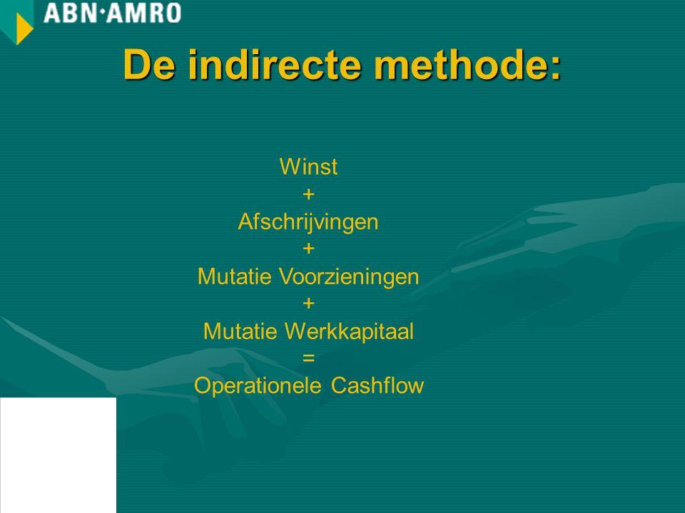 De indirecte methode: Winst + Afschrijvingen + Mutatie Voorzieningen + Mutatie Werkkapitaal = Operationele Cashflow