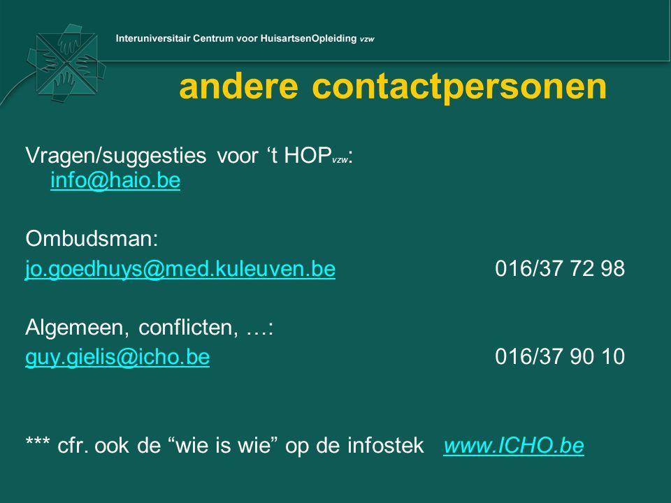 andere contactpersonen Vragen/suggesties voor 't HOP vzw : info@haio.be info@haio.be Ombudsman: jo.goedhuys@med.kuleuven.bejo.goedhuys@med.kuleuven.be