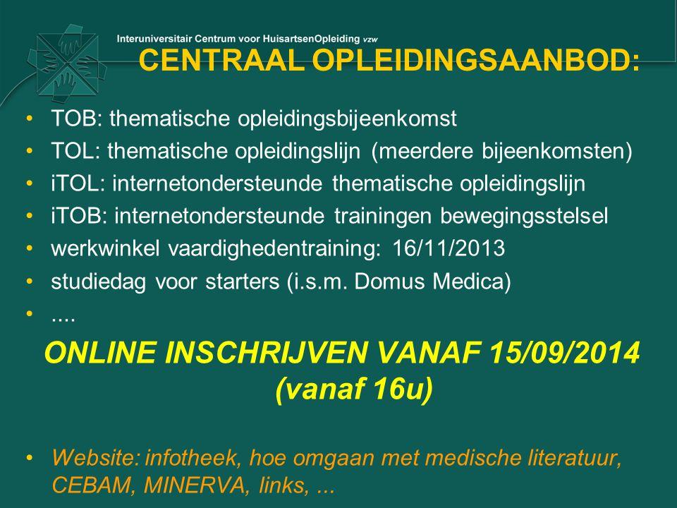CENTRAAL OPLEIDINGSAANBOD: TOB: thematische opleidingsbijeenkomst TOL: thematische opleidingslijn (meerdere bijeenkomsten) iTOL: internetondersteunde