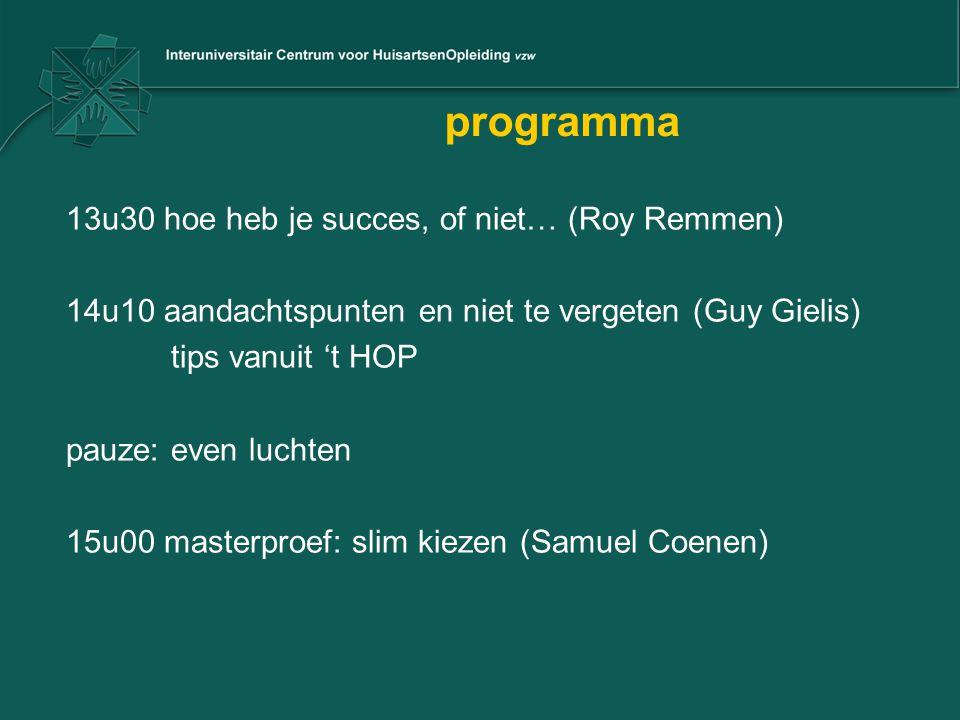 programma 13u30 hoe heb je succes, of niet… (Roy Remmen) 14u10 aandachtspunten en niet te vergeten (Guy Gielis) tips vanuit 't HOP pauze: even luchten