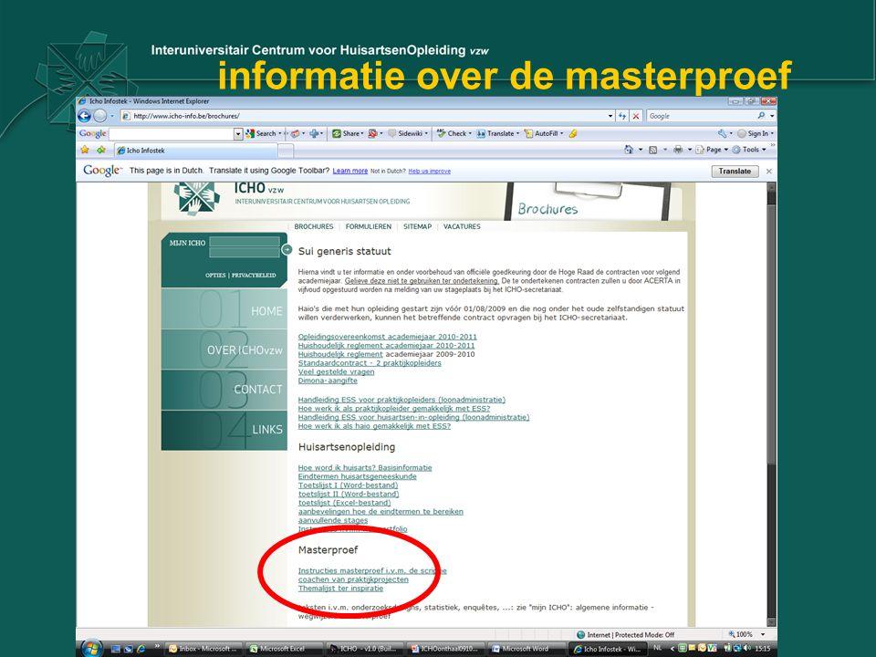 informatie over de masterproef