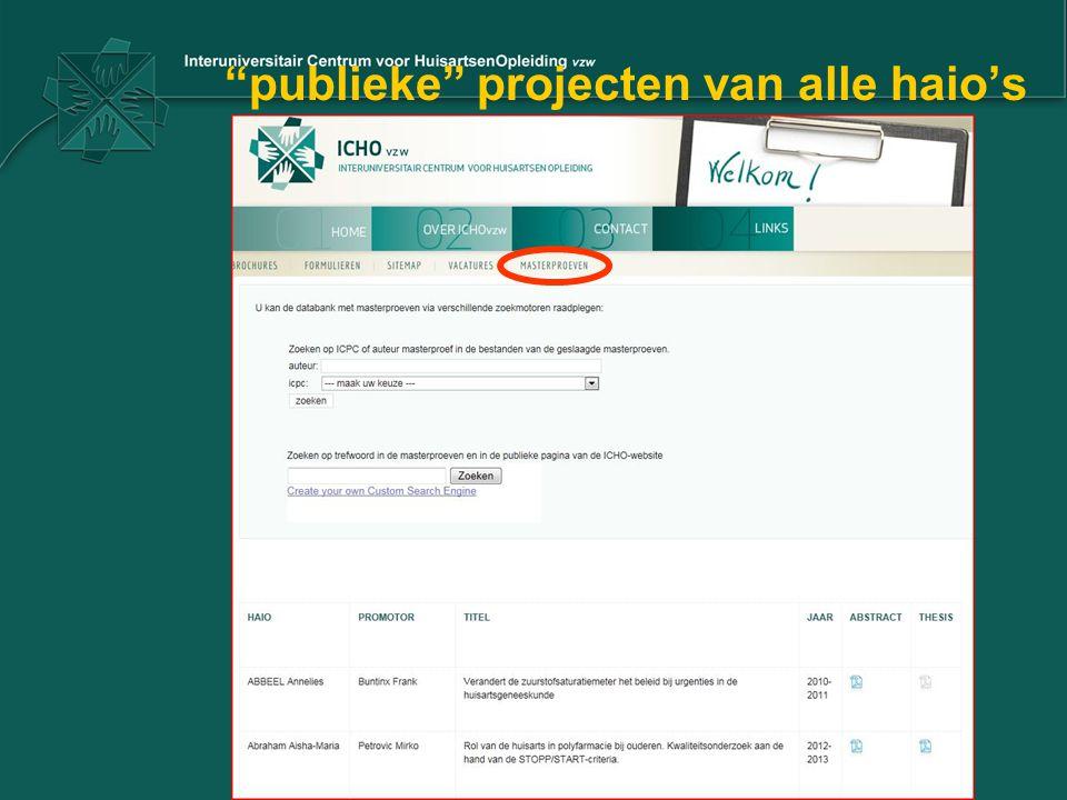 """""""publieke"""" projecten van alle haio's"""