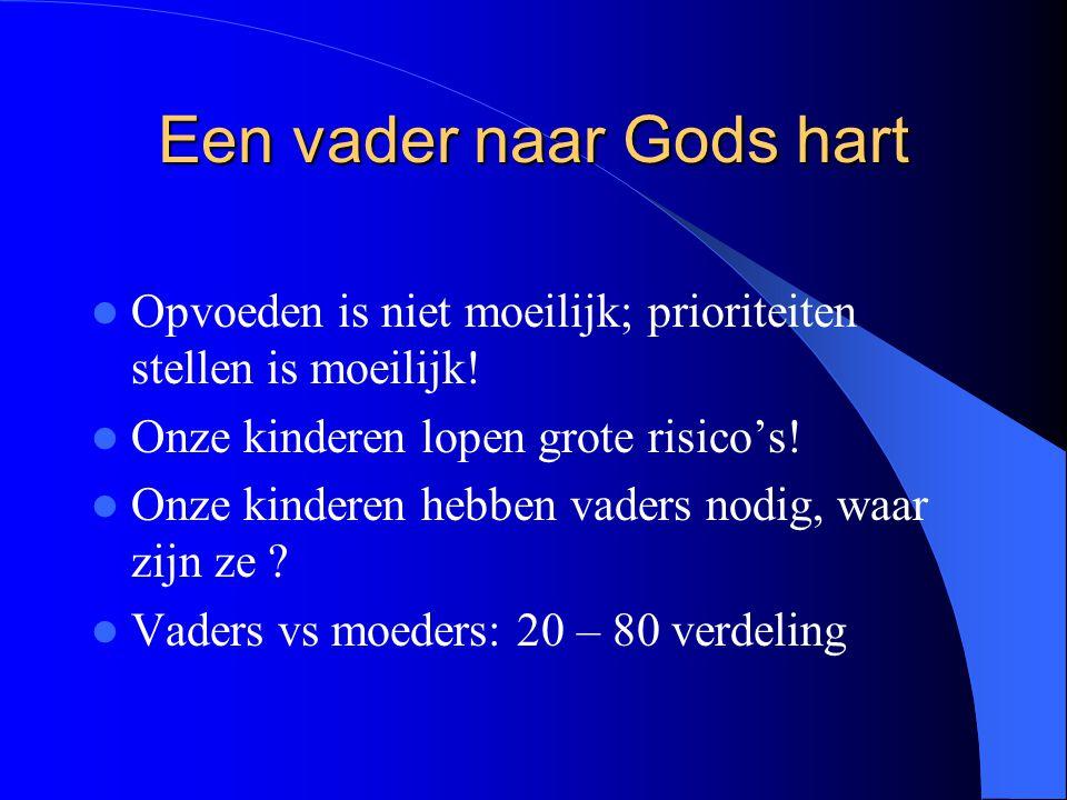 Een vader naar Gods hart Opvoeden is niet moeilijk; prioriteiten stellen is moeilijk! Onze kinderen lopen grote risico's! Onze kinderen hebben vaders