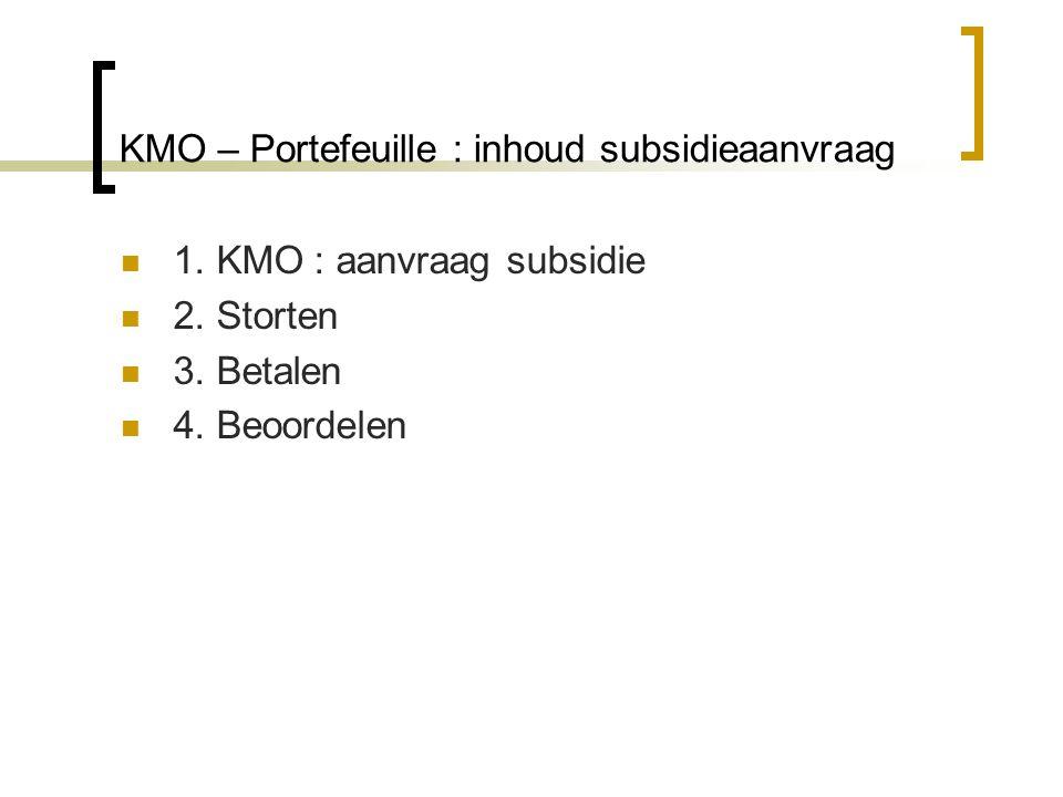 Vooraf : kies op www.kmoportefeuille.be voor 'vraag hier uw subsidie aan' of 'toegang tot de portefeuille' => log in met token of EID en uw naam verschijnt linksbovenwww.kmoportefeuille.be OF
