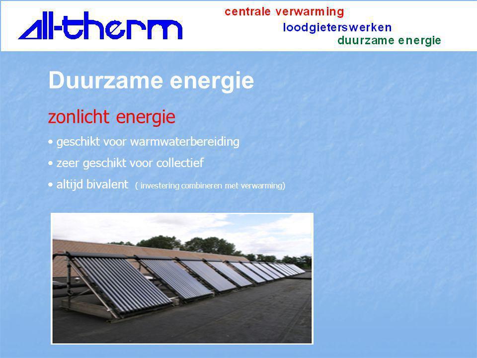 Duurzame energie zonlicht energie geschikt voor warmwaterbereiding zeer geschikt voor collectief altijd bivalent ( investering combineren met verwarmi