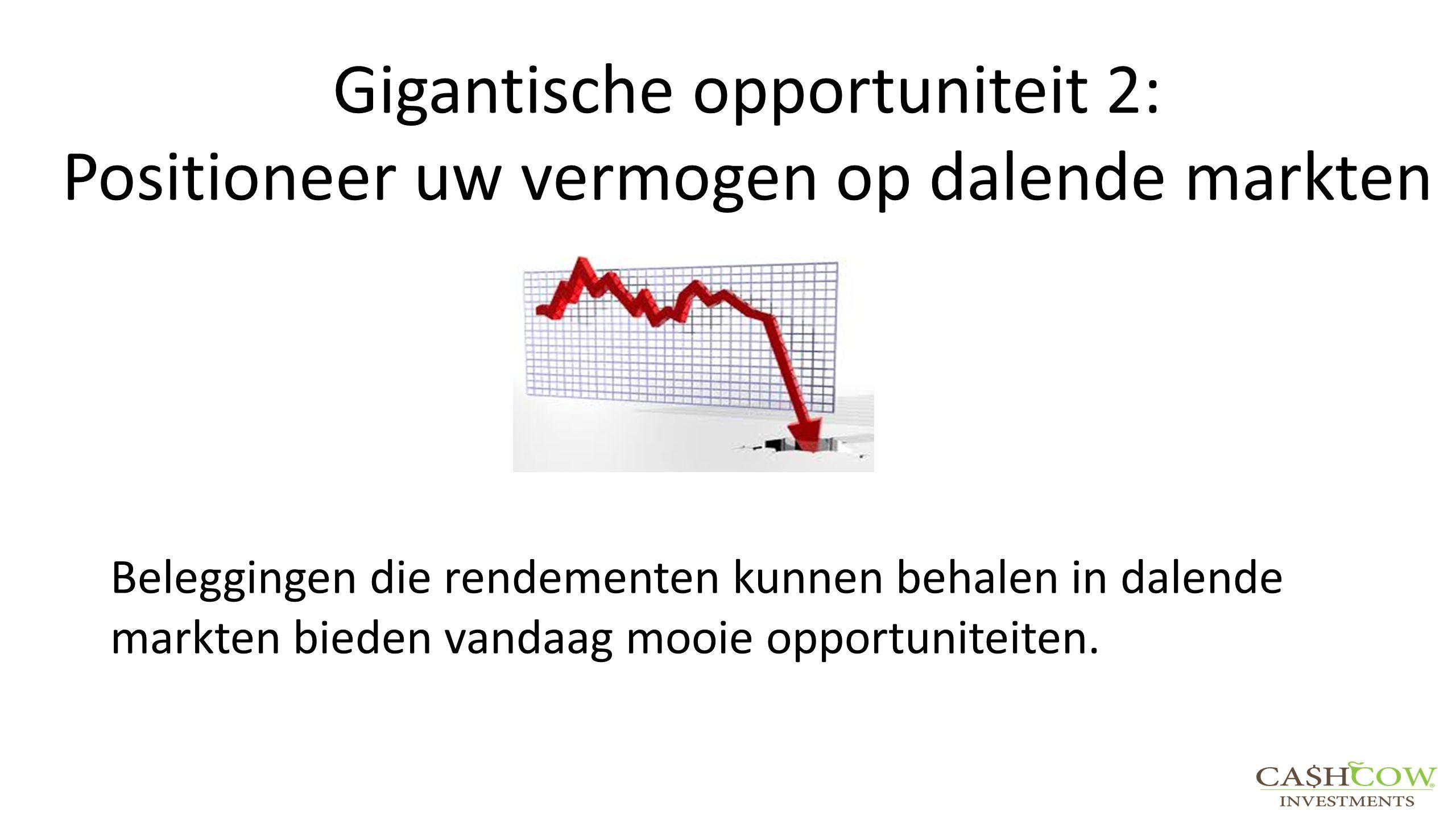 Gigantische opportuniteit 2: Positioneer uw vermogen op dalende markten Beleggingen die rendementen kunnen behalen in dalende markten bieden vandaag m
