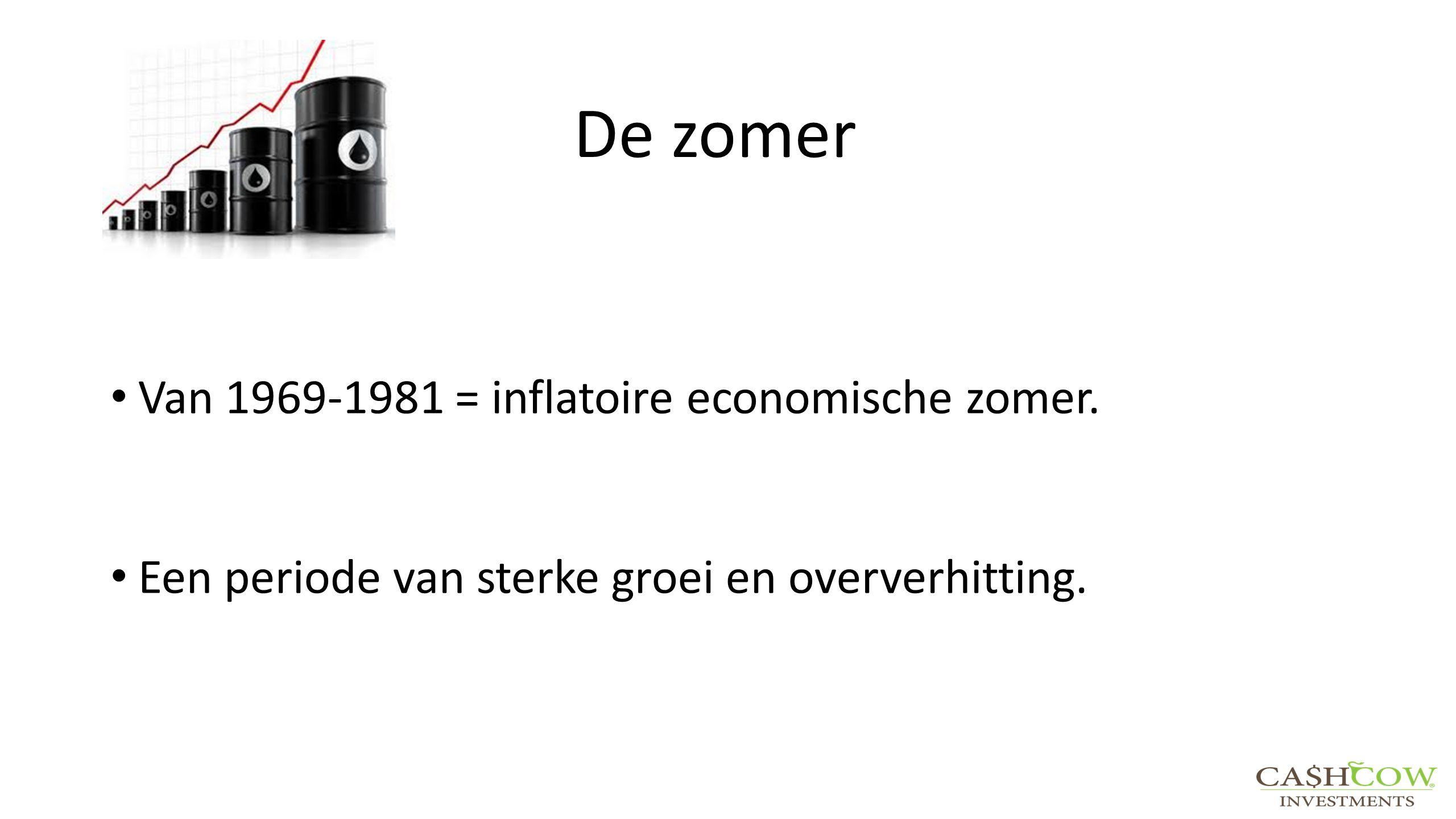 De zomer Van 1969-1981 = inflatoire economische zomer. Een periode van sterke groei en oververhitting.