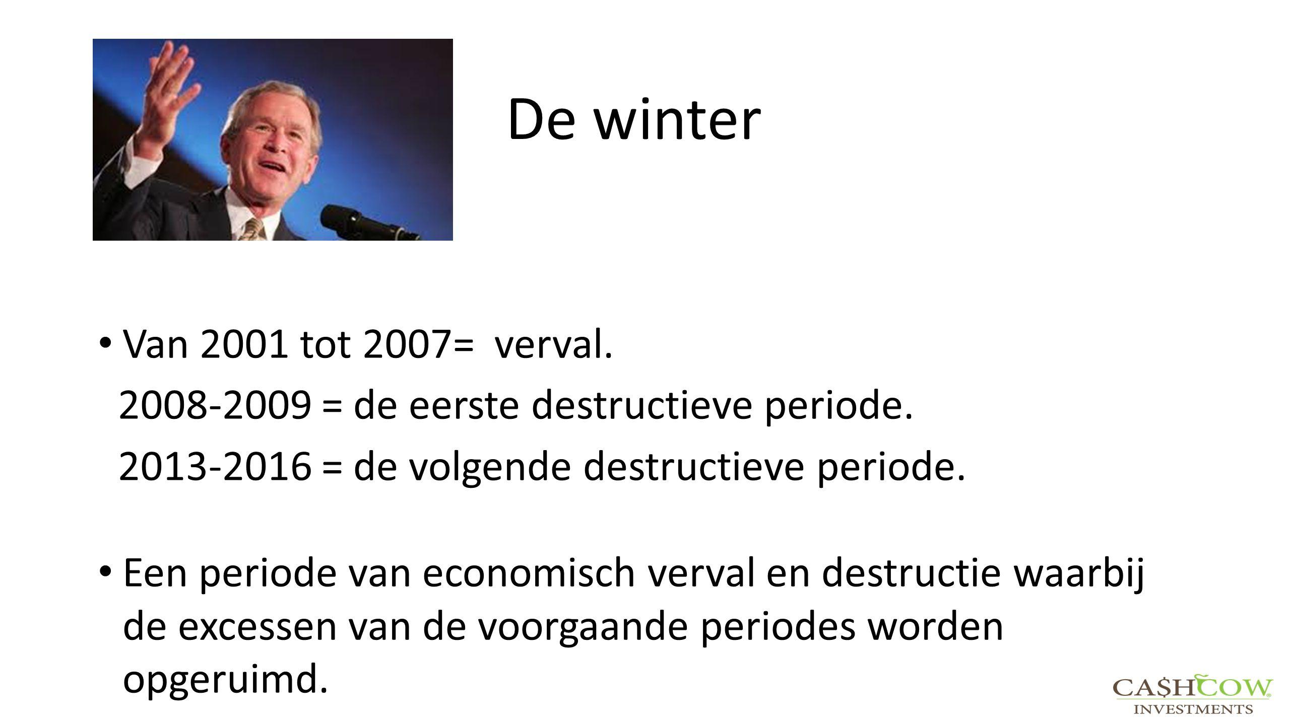 De winter Van 2001 tot 2007= verval. 2008-2009 = de eerste destructieve periode. 2013-2016 = de volgende destructieve periode. Een periode van economi