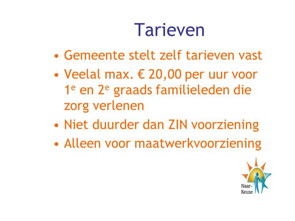 Tarieven Gemeente stelt zelf tarieven vast Veelal max. € 20,00 per uur voor 1 e en 2 e graads familieleden die zorg verlenen Niet duurder dan ZIN voor