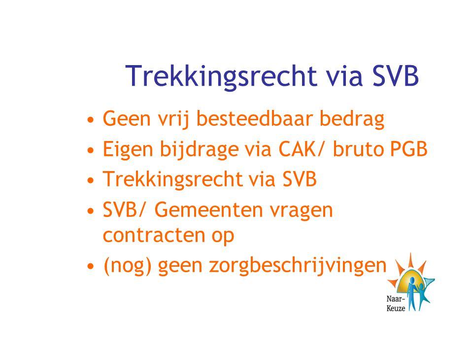 Trekkingsrecht via SVB Geen vrij besteedbaar bedrag Eigen bijdrage via CAK/ bruto PGB Trekkingsrecht via SVB SVB/ Gemeenten vragen contracten op (nog)